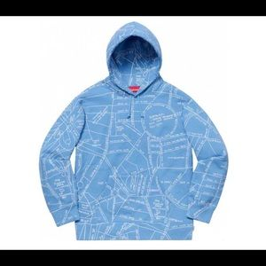 Supreme SS19 Gonz Map Hooded (Size M) Blue